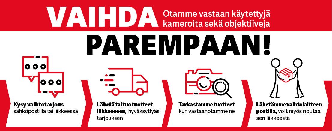 Otamme vaihdossa kameroita sekä objektiiveja - Kysy vaihtotarjous Kameraliike.fi