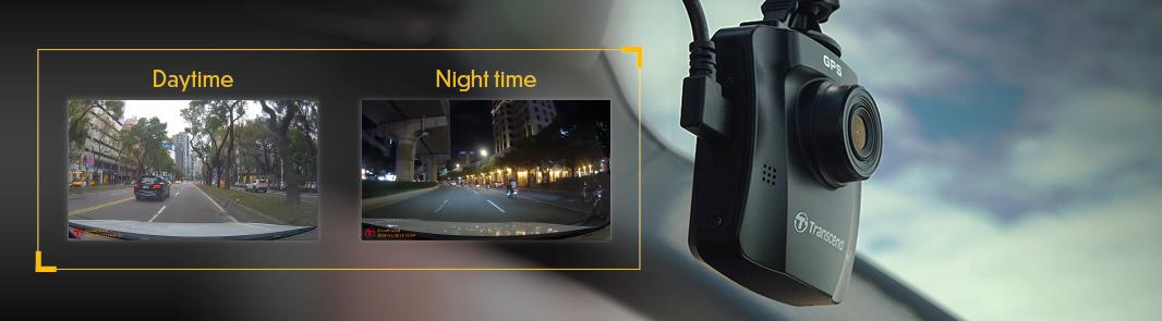 Transcend DrivePro 230 autokamera tarjoaa hyvää kuvaa pimeällä